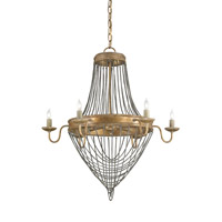 Currey & Company Lucien 6 Light Chandelier in French Gold Leaf/Antique Wash Silver 9411