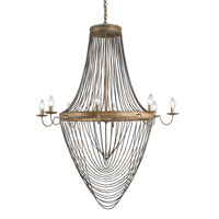 Lucien 8 Light 46 inch French Gold Leaf/Antique Wash Silver Chandelier Ceiling Light