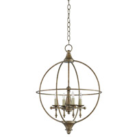 Currey and Company Rondeau 4 Light Chandelier in Pyrite Bronze 9425