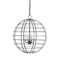 Currey & Company Keller 4 Light Chandelier in Satin Black/Contemporary Gold Leaf 9426