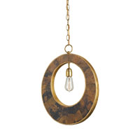 Currey & Company Porterdale 1 Light Pendant in Contemporary Gold Leaf/Tiger Penshell 9427
