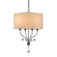 Currey & Company Penmere 4 Light Chandelier in Black Iron 9432
