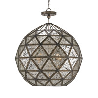 Currey & Company 9436 Buckminster 6 Light 27 inch Pyrite Bronze and Raj Mirror Chandelier Ceiling Light