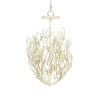 Currey & Company Eventide 3 Light Chandelier in White Coral 9441