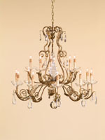 Currey & Company Soleil 15 Light Chandelier in Gold Leaf 9443