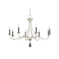 Currey & Company Bexley 8 Light Chandelier in Contemporary Silver Leaf/Blacksmith 9447