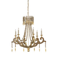 Currey & Company Bacchanal 6 Light Chandelier in Contemporary Gold Leaf/Brass/Chestnut 9453