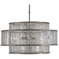 Currey & Company 9454 Fantine 8 Light 30 inch Pyrite Bronze/Raj Mirror Chandelier Ceiling Light, Large