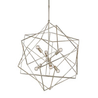 Currey & Company Aerial 6 Light Chandelier in Silver Granello 9455