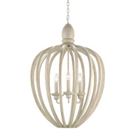 Currey & Company Appledore 3 Light Chandelier in Smoke Wood 9476