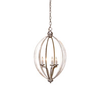 Currey & Company Bella Luna 3 Light Chandelier in Contemporary Silver Leaf 9482