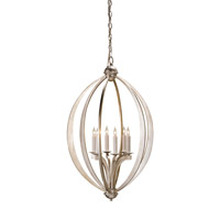 Currey & Company Bella Luna 6 Light Chandelier in Contemporary Silver Leaf 9483