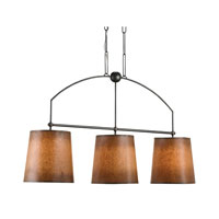 Currey & Company Cheroot Trio 3 Light Pendant in Hiroshi Gray with Antique Glazed Parchment Shades 9487