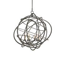 Currey & Company Genesis 6 Light Chandelier in Black Iron 9488