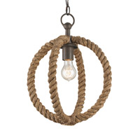 Currey & Company Bowline 1 Light Pendant in Natural/Rust 9489