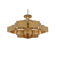 Currey & Company 9494 Grand Lotus 6 Light 30 inch Antique Gold Leaf Chandelier Ceiling Light
