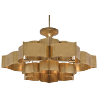 Currey & Company 9494 Grand Lotus 6 Light 30 inch Antique Gold Leaf Chandelier Ceiling Light Large Semi-Flush Convertible