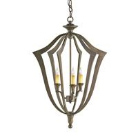 Currey & Company Protocol 3 Light Chandelier in Bronze Verdigris 9498