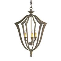 Currey & Company Protocol 3 Light Chandelier in Bronze Verdigris 9498 photo thumbnail