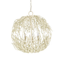Currey & Company Eventide Sphere 3 Light Chandelier in White Coral 9501