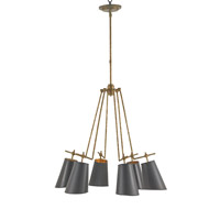 Currey & Company Jean-Louis 6 Light Chandelier in Old Brass and Marbella Black 9503