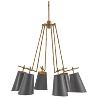 Currey & Company 9503 Jean-louis 6 Light 30 inch Old Brass/Marbella Black/Contemporary Gold Leaf Chandelier Ceiling Light