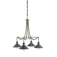 Currey & Company Damien 4 Light Chandelier in Pyrite Bronze and French Black 9509