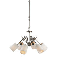Currey & Company Compass 6 Light Chandelier in Cupertino with White Linen Shades 9510
