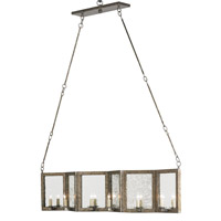 Currey & Company Deansgate 12 Light Rectangular Chandelier in Pyrite Bronze/Raj Mirror 9517