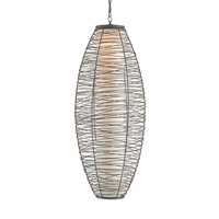 Currey & Company Kata 1 Light Pendant in Black Iron 9522