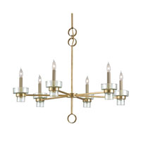 Currey & Company Envoi 6 Light Chandelier in Contemporary Gold Leaf 9524