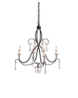 Currey & Company Tula 4 Light Chandelier in Old Iron 9532