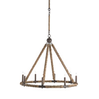 Currey & Company Bowline 8 Light Chandelier in Natural/Rust 9536