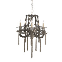 Currey & Company Kamini 5 Light Chandelier in Jaipur Silver 9539