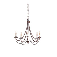 Cascade 5 Light 25 inch Hand Rubbed Bronze Chandelier Ceiling Light