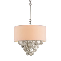 Currey & Company Capri 4 Light Chandelier in Contemporary Silver Leaf and Natural 9541