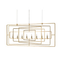 Metro 8 Light 17 inch Contemporary Gold Leaf Chandelier Ceiling Light