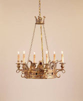Currey & Company Crown 6 Light Chandelier in Viridian Gold 9547