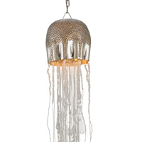 Medusa 1 Light 8 inch Nickel and Clear Pendant Ceiling Light