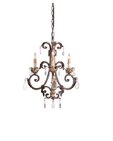 Currey & Company Mini Arabesque 3 Light Chandelier in Venetian/Gold Leaf 9559