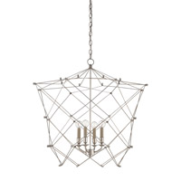 Currey & Company Twineham 4 Light Chandelier in Contemporary Silver Leaf 9560