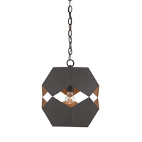 Currey & Company Enzo 1 Light Pendant in Textured Bronze and Contemporary Gold Leaf 9562