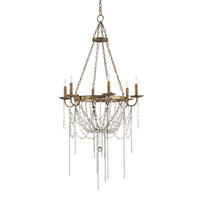Currey & Company Prophecy 6 Light Chandelier in Viejo Gold Leaf 9568