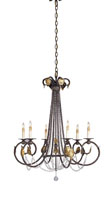 Currey & Company Beaded 6 Light Chandelier in Venetian/Gold Leaf 9580