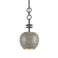 Currey & Company Hampshire 1 Light Pendant in Blacksmith and Polished Concrete and Silver Leaf 9581