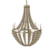 Currey & Company Silvermore 8 Light Chandelier in Contemporary Silver Leaf 9587