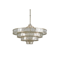 Currey & Company Frappe 3 Light Chandelier in Silver Granello and Raj Mirror 9597
