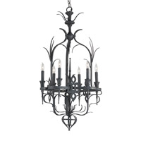 Currey & Company Corazon 6 Light Chandelier in French Black 9598