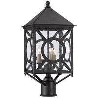 Currey & Company 9600-0001 Ripley 3 Light 21 inch Midnight Outdoor Post Light Small