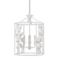 Currey & Company Birdsong 4 Light Lantern in Gesso White 9602